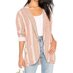 Free People Simply Stripe Linen Blend Blazer